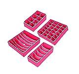 Nifogo Organizadores de Cajones para Ropa Interior Caja de Almacenamiento Plegable Organizador de Armario Cajón Divisor Juego de 4 Separadores de Cajones para Almacenar Sujetador/Calcetines/Corbatas