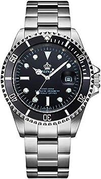 Mens Luxury Watches Rotatable Bezel Sapphire Glass Luminous Hand Quartz Silver Tone Stainless Steel Watch  Black
