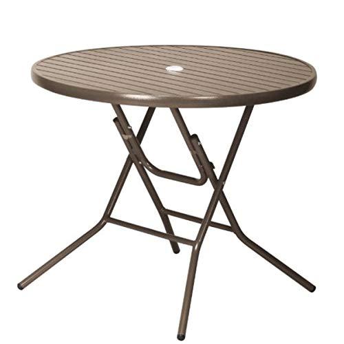 アルミ ガーデンテーブル 折りたたみ パラソル穴 店舗 オープンカフェ ブラウン