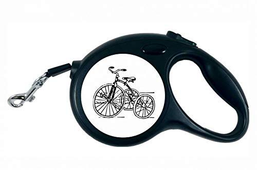 Druckerlebnis24 Rollleine - Dreirad Jahrgang Retro Spielzeug - 5M Hundeleine Nylon Ergonomischem rutschfest-Griff Einziehbar
