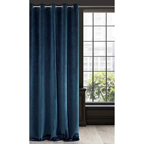 Eurofirany Cortina de Terciopelo Azul Marino, 1 Unidad, Suave, 10 Ojales, Elegante,, glamuroso, Dormitorio, salón, salón, Tela, 140 x 250 cm