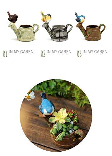 START Kreative amerikanische Land Retro-Mini-Vogel-Dusche saftigen Blumentopf Persönlichkeit Garten Balkon dekorative Blume (Color : Beige)