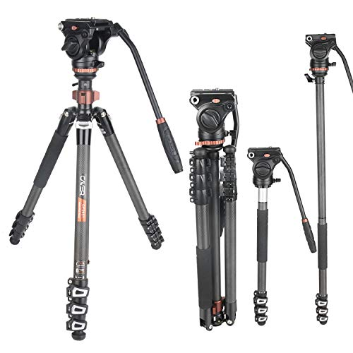 Cayer CF2451 Video Tripod 67 inches Carbon Fiber Tripod Leg with Fluid Drag Head, 4-Section Compact DSLR Tripod Convertible to Monopod for DSLR Camera, Video Camcorder