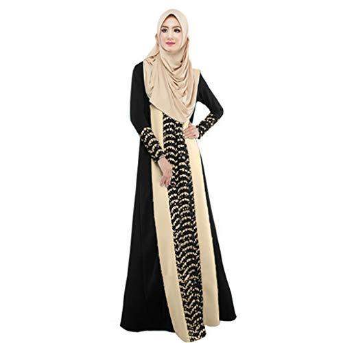 CICIYONER Damen Kleider Frauen Maxikleid Dubai Kleid ethnischer Patchwork Kleid Islam Abaya Kaftan Moslem Kleiden