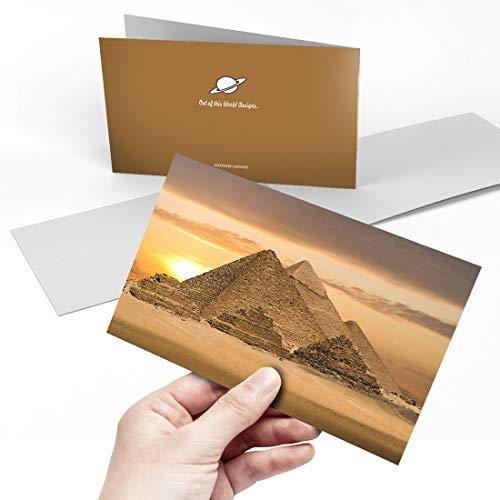 Grußkarte (A5) – Ägyptische Pyramiden Giza Ägypten Blanko Grußkarte Geburtstag Kinderparty Jungen Mädchen #13053