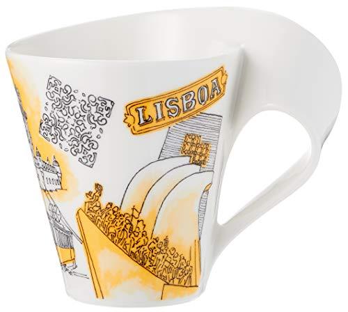Villeroy & Boch Cities of the World Kaffeebecher Lissabon, 300 ml, Premium Porzellan, gelb
