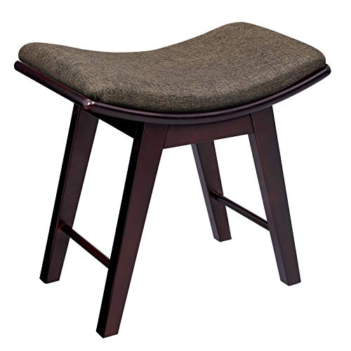 Big Save! SONGMICS Vanity Stool, Modern Makeup Dressing Stool with Concave Seat Surface, Padded Benc...