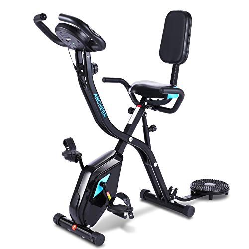 ANCHEER Folding Exercise Slim Bike,3 in 1 Stationary Cycle Indoor Recumbent Bike,Compact Magnetic Upright Bike for Home with 10level Adjustable Magnetic Resistance&App Program&Monitor. (Black)