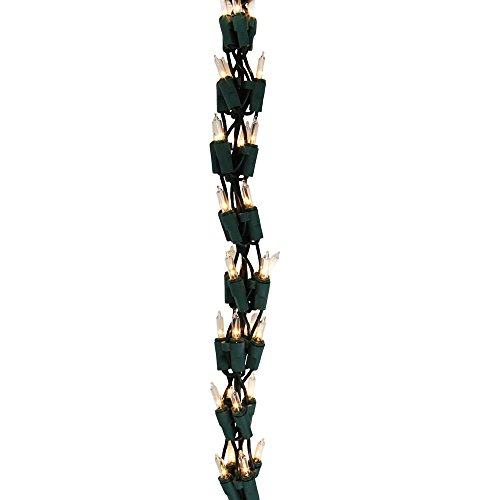 Vickerman 300 Clear Light, 9-Feet Garland Light Set on Green Wire