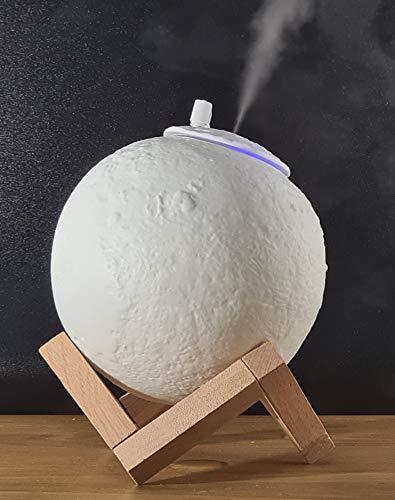 Self Ideas - Lampara de luna 3D con humidificador ultrasónico. Luz infantil nocturna calmante y relajante con 3 tonalidades de color. Luz nocturna con difusor de aceites esenciales.