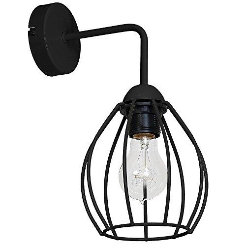 Wandlamp met draadframe (industrieel, zwart, bolvormige kap, E27) industriële lamp hallamp wandlamp