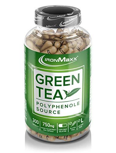 IronMaxx Green Tea - Grüner Tee Extrakt - 300 Kapseln - hochdosiert mit 750mg pro Kapsel und 2250mg pro Tagesdosis - mit Polyphenolen, Catechin, EGCG und Koffein - Designed in Germany