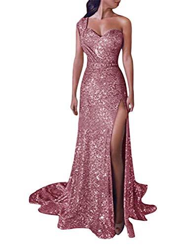 Minetom Robe Femme Couleur Unie à Épaule Dénudées Sexy Col V Robe à Paillettes sans Manches Longue Maxi Robes De Soirée Party Cocktail Rose FR 44