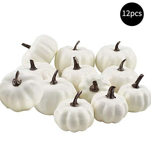 JinYiny 12 Stück Verschiedene Größen weiße künstliche Kürbisse Thanksgiving künstliche Erntekürbisse für Herbst Halloween Dekoration Home Tischdekoration