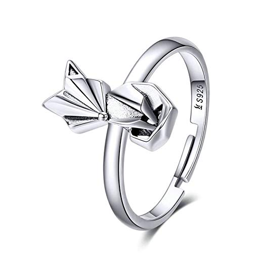 JIARU 925 Sterling Silver Ring for Women Adjustable ring fashion simple ring and origami Fox rings for Girl Open Finger Ring Gift