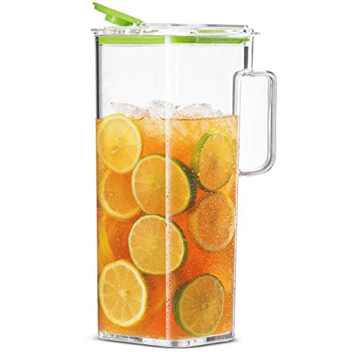 Komax Large Water Pitcher with Lid   77-oz (2.4-quart) Water Carafe   Iced Tea Pitcher Suitable for Water, Tea, Juice, Lemonade   Space Saving Shape, Leakproof, Premium BPA-Free Plastic Pitcher
