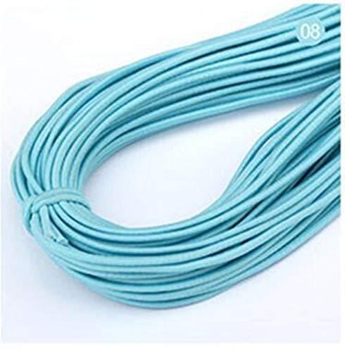 Hoogwaardige elastische band 14m * 2 mm kleurrijk rond elastisch verband rond elastisch touw elastiekjes lijn DIY naai-accessoires, blauw, 2 mm
