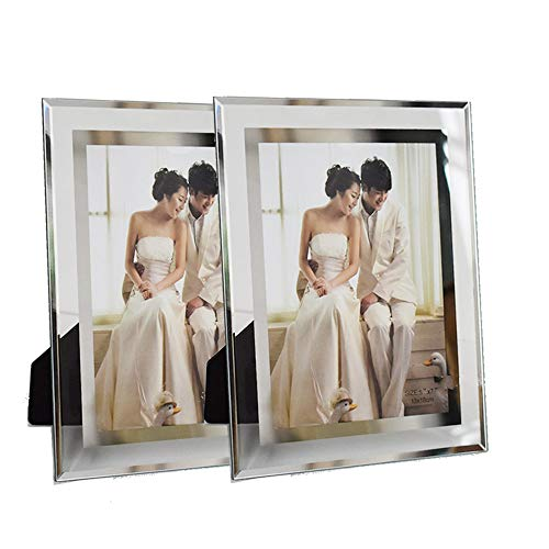 5x7 Picture Frame Friends Gifts for 5x7 Photo Display, Glass Picture Frame Tabletop Mirror Photo Frames 5 by 7 for Family Office Table Decorations, Set of 2