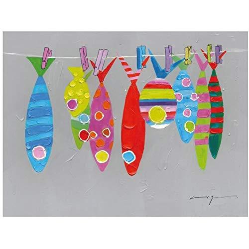 Peces rojos abstractos Carteles e impresiones Color gris brillante moderno Colorido animal Imagen Dibujos animados Peces Lienzo Pintura Decoración para el hogar 50x70cm (19.6x27.5in) Con marco