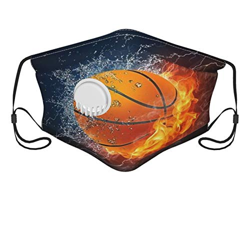 Basketball Ball Fire Water Raster Men's and Women's Mouth Face Mask Anti Breathable Filter Dust Absorb Sweat Washable Reusable Masks for Cycling Camping Ski Travel Outdoor