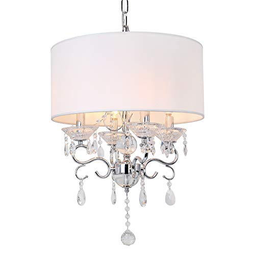 Hykolity 17 inch 4-Light Crystal Chandelier Ceiling Light with White Fabric Round Drum Shade, Antique Chrome Finish Pendant Lighting, Hanging Lamp for Hallway, Kitchen, Dining Room, Living Room