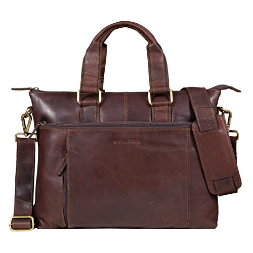 STILORD 'Lionel' Leder MacBooktasche 15 Zoll für Macbooks DIN A4 Herren Damen Vintage Umhängetasche Messenger Bag Aktentasche, Farbe:Cognac - Dunkelbraun