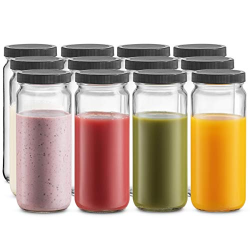 Travel Glass Drinking Bottle Mason Jar 16 Ounce [12-Pack] Plastic Airtight Lids, Reusable Glass...