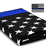 Anley EverStrong Series Thin Blue Line USA Flag 3x5 Foot Heavy Duty Nylon - Embroidered Stars and Sewn Stripes - Honoring Law Enforcement Officers Banner Flags with Brass Grommets 3 X 5 Ft