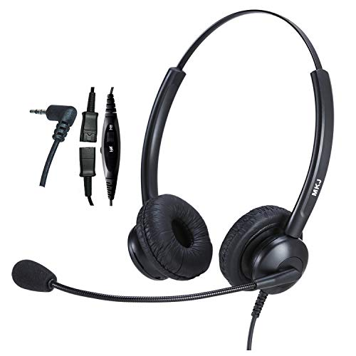 2.5mm Headset with Microphone for Office Phones Telephone Headset Noise Cancelling for Panasonic Cordless Phone KX-TGF574 KX-TGF380M Cisco Linksys SPA 508G Grandstream Uniden and Other Dect Phones