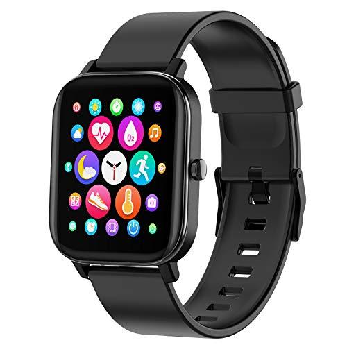 PUBU Smartwatch,Touch-Farbdisplay Fitness Armbanduhr mit Pulsuhr Fitness Tracker IP67 Wasserdicht Bluetooth schrittzähler,Sportuhr Smart Watch für Damen Herren (Schwarz)
