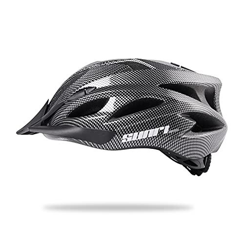 Bike Helmet for Adult Men Women, Bicycle Helmet with Detachable Visor, Lightweight Road Cycling Helmet Adjustable Size (L) 22-24 inches