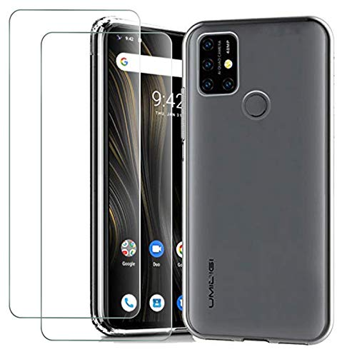 cookaR Crystal Clear Hülle für UMI Power 3 +[2 Stück] Panzerglas Schutzfolie,Silikon TPU Handyhülle Schutzhülle Hülle Superdünn Soft Cover für Umidigi Power 3 Smartphone -Transparent