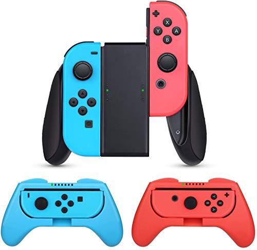 Nintendo switch ハンドル(3個セット)【HeysTop】 ニンテンドースイッチ コントローラー switch ハンドル Joy Conグリップ 装着簡単/反応素早い/精密寸法/作動中ランプ付き (レッド・ブルー)