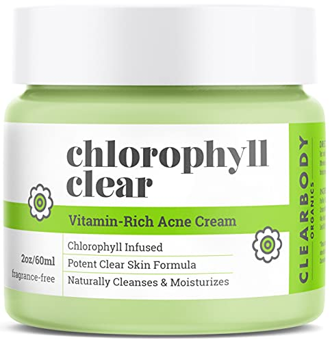 Chlorophyll Acne Cream Treatment- Natural Face Moisturizer for Pimples Scars Cystic Acne Blackheads Spot Treatment- Night/Day Use Helps Prevent Breakouts for Normal, Dry, Oily Skin- With Tea Tree Oil