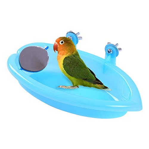 QBLEEV Bird Baths Tub with MirrorFor Cage, Parrot Birdbath...
