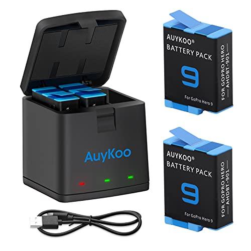 AuyKoo 2 Batería+Cargador Accesorios Kit para GoPro Hero 10/9 Black, 2 Piezas Batería de Repuesto+Cargador+Cable Tipo C Totalmente Compatible con la Cámara de Acción GoPro Hero 10/9 Black Original