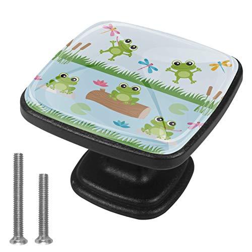 Quadratische Ziehgriff-Hardware für Küchenschranktür, Kommode, Schubladen, mit Schrauben, für Küche, Kommode, Schrank, Badezimmer, Kleiderschrank, Frosch