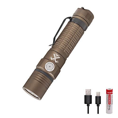 ThruNite x The Outsider TC15 V2 Tan Taschenlampe 2300 Lumen Superhell LED Taschenlampe USB Aufladbar Handlampe 6 Modi mit 18650 Akku Wasserdicht IPX8 für Outdoor Camping Wandern - Kaltweiß