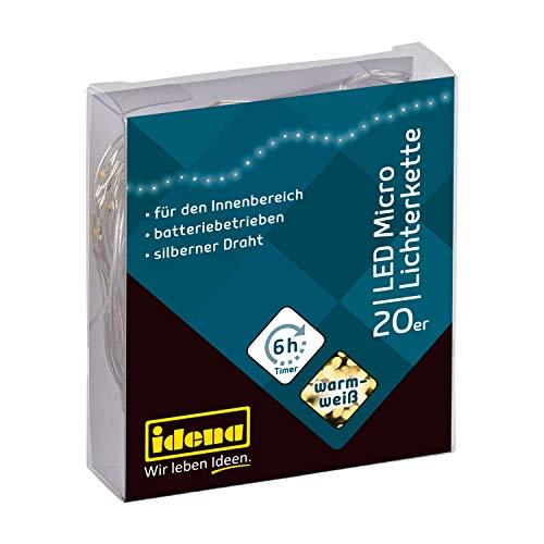 Idena 31118 LED Micro Lichterkette mit 20 LED in warm weiß, mit 6 Stunden Timer Funktion, Batterie betrieben, für Partys, Weihnachten, Deko, Hochzeit, als Stimmungslicht, ca. 2,2 m