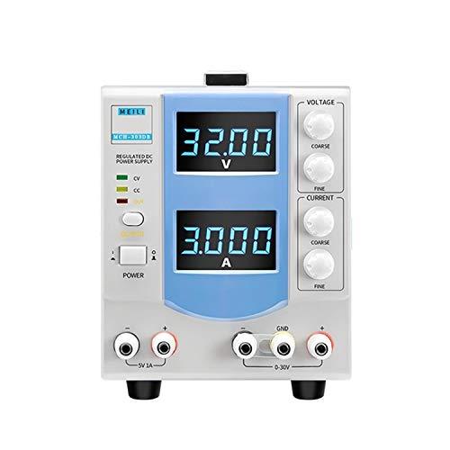 0-30V 3A Fuente de alimentación regulada de CC ajustable Pantalla de cuatro dígitos Fuente de alimentación regulada lineal MCH-303DB DISEÑO HUMANO,USO AMPLIO (Size : 110V)