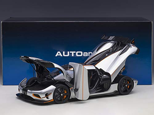 Koenigsegg Agera RS Moon Silver with Carbon and Orange Accents 1/18 Model Car by Autoart 79024