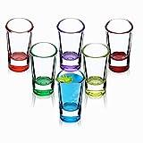 KADAX Schnapsgläser, 6er Set, 28ml, Shotgläser mit dickem Boden, minimalistische Gläser, Stamper für Alkohol, Brand, Shot, Schnapsglas für Party, verstärkter Glasboden (Mehrfarbig)