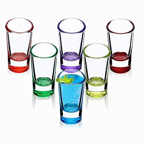 Verres à liqueur KADAX, lot de 6, 28ml, verres à liqueur, tampon pour alcool, marque, shot, vodka, fête, verre à liqueur, verres courts, verres sambuca, verres à broches, mugs à shot (multicolores)