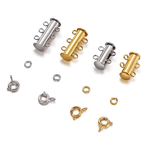 Pandahall 2-3 Strand Brass Magnetic Slide Lock with 40pcs Brass Close but Unsoldered Jump Rings and 20pcs Brass Spring Ring Clasps for Bracelet Necklace Jewelry Making (Silver &Golden)