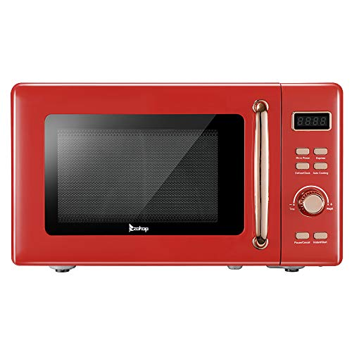 Microwave Oven with Inverter Technology, LCD Display and Smart Sensor, 0.7Cu.ft, Black Stainless Steel,Red