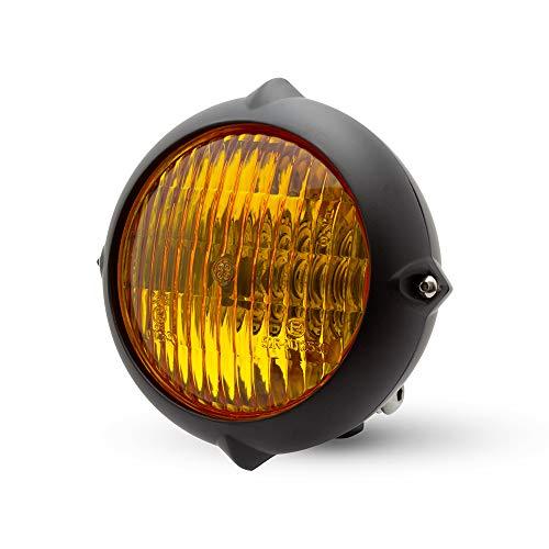 5.5 inch koplamp voor retro aangepast project - mat zwart met gele lenzen