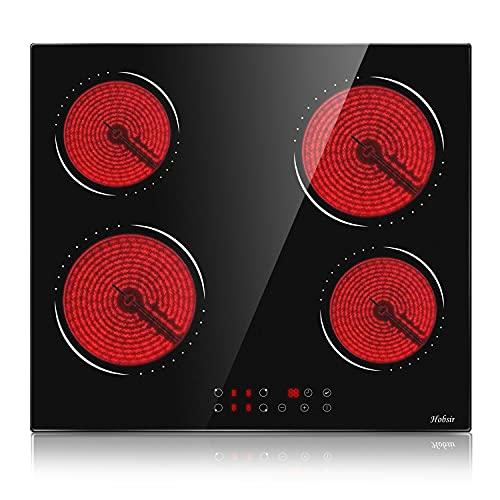 Plaque Vitrocéramique, Table de cuisson vitrocéramique 4 feux, 6000W avec 9 niveaux de puissance, 58,3 cm, Vitrocéramique, Capteur Contrôle Tactile,Verrouillage de Sécurité, Hobsir