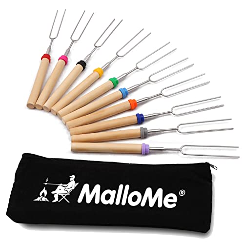 MalloMe Marshmallow Roasting Sticks - Smores Skewers for Fire Pit Kit - Hot Dog Camping Accessories...