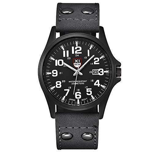 Herren Uhren Männer Militär Sport Edelstahl Armbanduhr Design Business Modisch Analog Quarzuhr mit Leder LEEDY