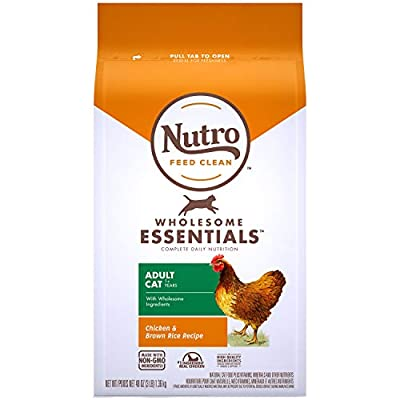 NUTRO WHOLESOME ESSENTIALS Natural Dry Cat Food, Adult Cat Chicken & Brown Rice Recipe Cat Kibble, 3 lb. Bag
